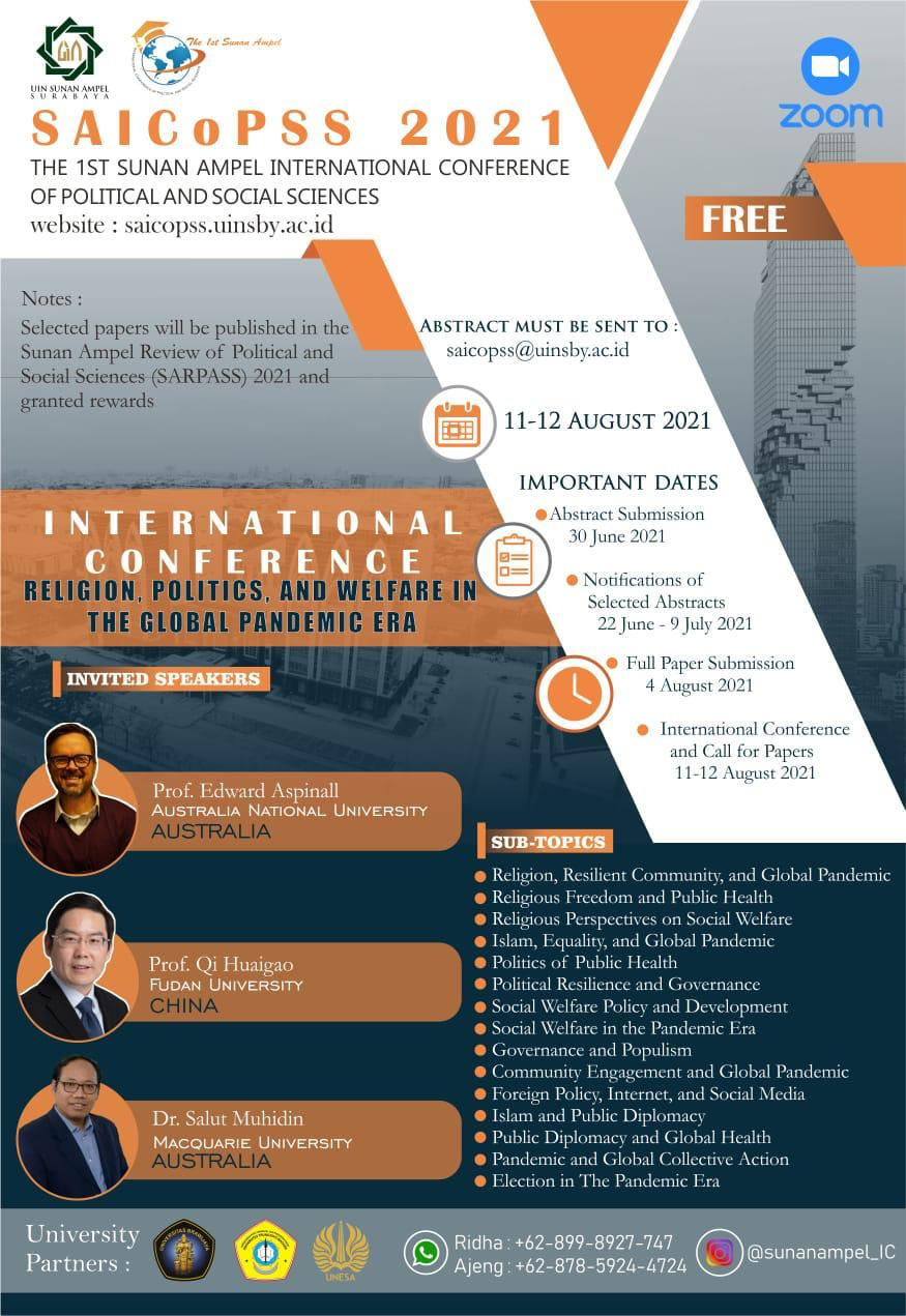 """INTERNATIONAL CONFERENCE AND CALL FOR PAPERS """"RELIGION, POLITICS AND WELFARE IN THE GLOBAL PANDEMIC ERA"""""""