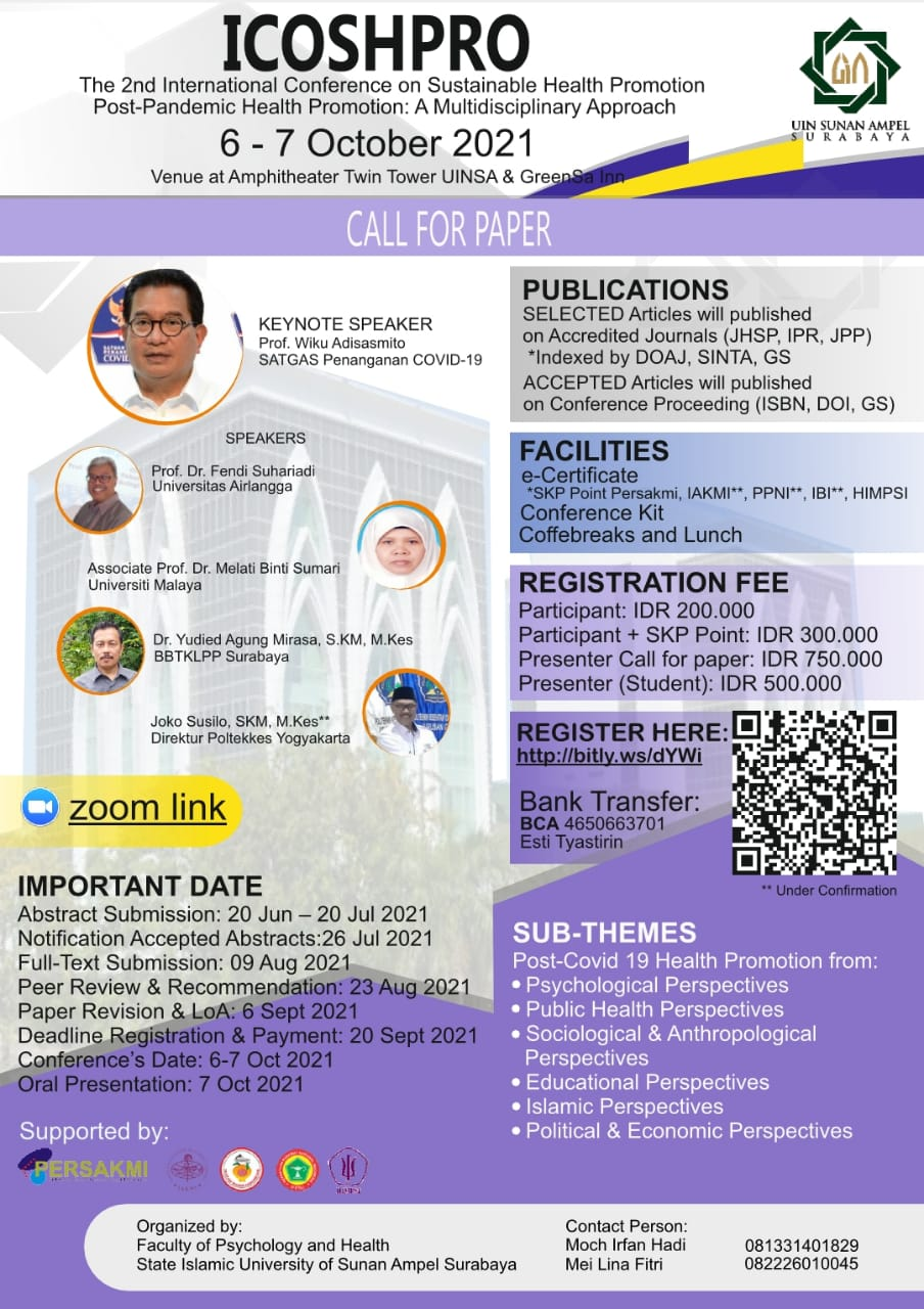 ICOSHPRO.  The 2nd International Conference on Sustainable Health Promotion Post-Pandemic Health Promotion: A Multidisciplinary Approach.
